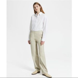 Theory Feather Nappa Leather Pleated Pant